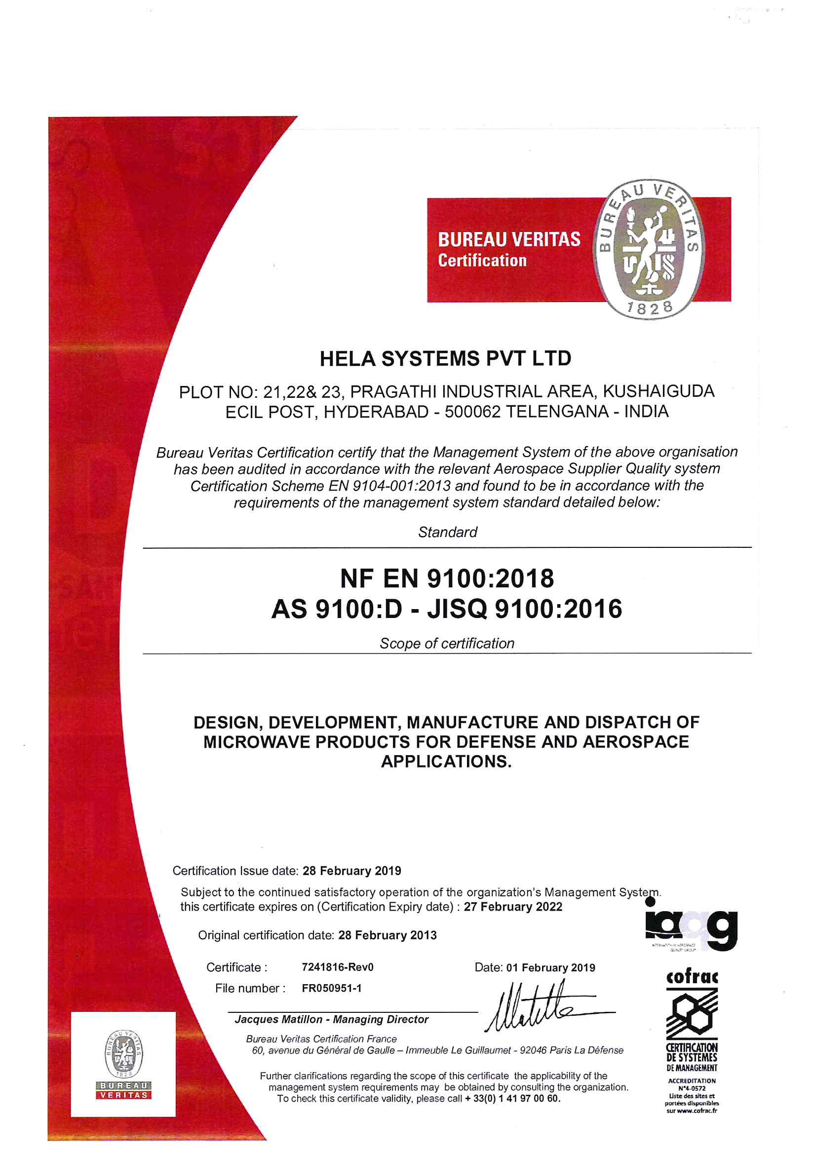 Hela systems private limited hela systems private limited has been awarded the as 9100 revision c certification xflitez Image collections